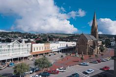 The Anglican Cathedral of St Michael and St George in Grahamstown,South Africa. The high Street has these wonderful 19th C shop fronts. My home town!
