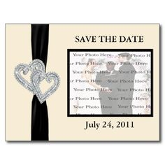 Elegant Diamond BlackRibbon Save The Date Postcard