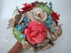 Song sheet rose coral rose gold anemones green by 2CLVR4UDESIGNS, $90.00