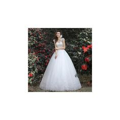 Royal Style Diamante Sleeveless Wedding Ball Gown ($244) ❤ liked on Polyvore featuring dresses, wedding dresses, wedding and women