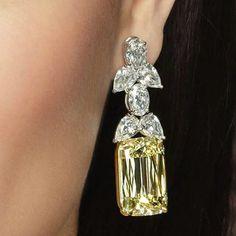 Gorgeous #diamond #earrings by #ASHOKAdiamond - #Eden Earrings featuring. Beautiful #fancy #yellowdiamond