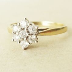 Vintage .33 Carat Diamond Flower Ring, 9k Gold & Diamond Flower Engagement Ring, Approximate Size US 7 / 7.25    This beautiful ring is 9k yellow gold