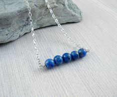 Blue Stone Necklace, Silver Necklace for Women, Lapis Lazuli Necklace, Womens Choker Necklace, Lapis Lazuli Jewelry, Silver Chain Necklace