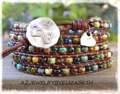 Picasso Seed Bead Leather Wrap Bracelet/ Leather And Seed Bead