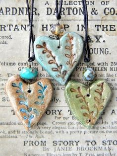 Pottery heart necklaces. This inspires me to cut hearts out of clay and get them fired for our Idaho Art Lab customers to paint or glaze.  You could even add a polished stone from our Lapidary Lab.