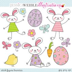 Stick Figure Bunnies Cute clipart set comes with 13 graphics including 3 cute stick figure bunny rabbits, 2 Easter eggs, 3 butterflies, a cute Adobe Illustrator, Easter Drawings, Stick Figure Drawing, Cute Clipart, Easter Bunny, Easter Eggs, Bunny Bunny, Easter Gift, Free Graphics
