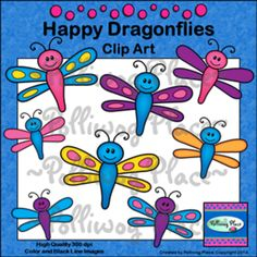 Happy Dragonflies Clip Art -- Freebie The happy dragonflies in this clip art collection include  8 colorful spring dragonflies plus   black line images (10 total).   These adorable spring dragonflies are anxiously   waiting to decorate your classroom or enhance your next education   project.