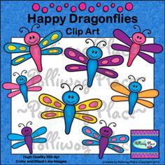 Happy Dragonflies Clip Art -- Freebie