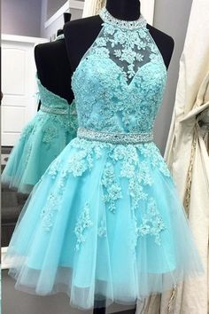 Cute Light Blue High Neck Tulle Homecoming Dress,Backless Beaded Party Dress by prom dresses, $161.00 USD
