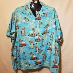 cec8fb2d97 Hilo Hattie Hawaiian Shirt 4XL Blue Beach Cruiser Tower Woody Palm Trees  Aloha #HiloHattie #