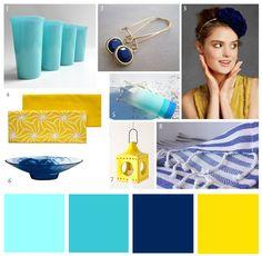 Aqua, Lemon Yellow, and Blue Party Palette