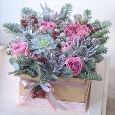 Милая коробочка ) зимняя- ягодная❄️#цветыминск #цветывкоробке #flowers #flowerinbox #wintebouquet #succulents #frosty #berries#lathyruslavka