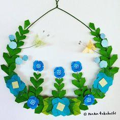お花畑とちょうちょう。 Flower garden and butterflies. #wreath #wreathflower #interiordecorating #walldecor #origami #papercraft #garland #flowergarden #butterfly #おりがみ #おはなばたけ #リース #フラワーリース #ペーパークラフト #ちょうちょ #ガーランド #nanatakahashi #たかはしなな (Ikoma, Nara)