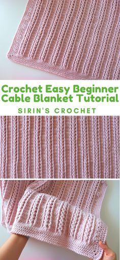Crochet Easy Beginner Cable Blanket Tutorial With Written Pattern - Sirin's Croc. Crochet Easy Beginner Cable Blanket Tutorial With Written Pattern – Sirin's Crochet Crochet Baby Blanket Free Pattern, Crochet For Beginners Blanket, Crochet Stitches Patterns, Beginner Crochet, Free Crochet, Knitting Patterns, Stitch Crochet, Single Crochet Stitch, Reverse Single Crochet