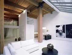 loft interior design with contemporary staircase
