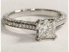 1.25 CT PRINCESS CUT HEIRLOOM ANTIQUE STYLE DIAMOND ENGAGEMENT RING