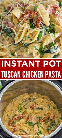 Instant Pot Tuscan Chicken Pasta is very easy to make, creamy and delicious with perfect juicy chicken, sun dried tomatoes and spinach. instant pot recipes Instant Pot Tuscan Chicken Pasta [VIDEO] - Sweet and Savory Meals Best Instant Pot Recipe, Instant Pot Dinner Recipes, Instant Pot Meals, Best Recipes For Dinner, Instant Pot Pressure Cooker, Pressure Cooker Recipes, Pressure Cooker Chicken, Pressure Cooking, Slow Cooker