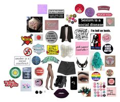 """""""You say Social Justice Warrior like it's a bad thing"""" by mrsromangodfrey ❤ liked on Polyvore featuring Wet Seal, H&M, Gucci, Patch Ya Later, Trump Home, Wolford, American Eagle Outfitters and Minga"""