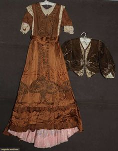 BROWN SILK TEA GOWN c. 1908 Chestnut brown satin & chiffon w/ lace & soutache trim; t/w 1 taupe velvet bodice