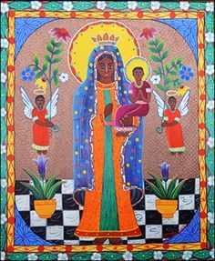 """""""Madonna and Child with Angels"""" by Francoise Elliasaint (Haiti)"""