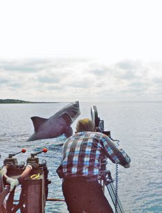 Behind the scenes of 'Jaws', 1975.