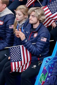 Gracie Gold and Charlie White watch Jeremy Abbott compete - Sochi 2014