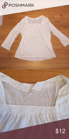 J.Crew White Square Neck Tee J.Crew White Square Neck Tee. Size large. Very soft cotton shirt. Good condition J. Crew Tops Tees - Long Sleeve