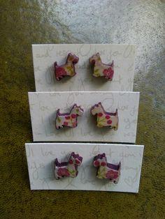 Scotty dogs decoupage earrings Scottie Dog, Decoupage, Earrings, Dogs, Shop, Scottie, Scottish Terrier, Ear Rings, Doggies