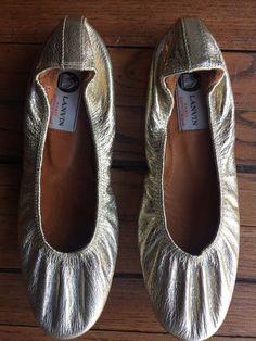 Lanvin Leather gold round toe elastic ballet flat Ballerinas #Lanvin #BalletFlats