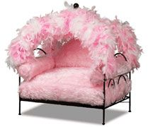 Pink Fur and Feather Dog Bed.. R U kidding me.. I can think of alot of doggies that would look fab in this bed