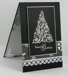 Cat's Ink.Corporated: Merry Monday Sketch For July - Snow Swirled.  Love this black and gray Christmas card.