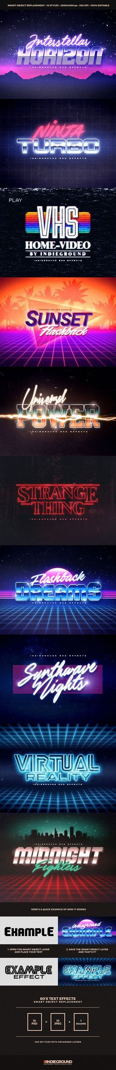 80's Retro Text Effects for Photoshop - graphic resource gives you a quick & easy possibility to apply an high quality retro 80s classic style to your text, shapes and logo. You just need to replace them into the smart object. Create a flyer, a facebook cover, a banner and give them the rad 1980s touch. Bring back the new retro wave feeling that only vhs, videogames, metal & chrome, synth, sun & palms could give!