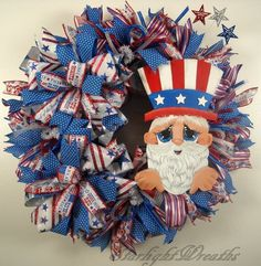 Unique Wreaths, Lantern Swags, Centerpieces and more! by StarlightWreaths Wreaths And Garlands, Deco Mesh Wreaths, Holiday Wreaths, Holiday Decor, 4th Of July Decorations, Valentine Decorations, Patriotic Wreath, 4th Of July Wreath, 4th Of July Party