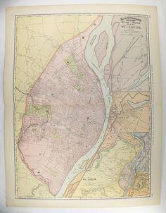 1903 Large Detroit MI Map Vintage Detroit Gift Art Map Detroit