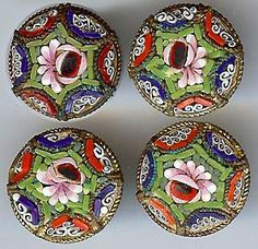 Vintage Micro Mosaic Italy Set of Four Flower Design Buttons