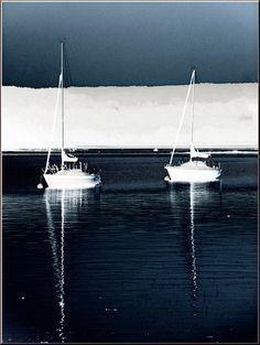 'Zwei Segelboote vor Anker (1)' von Rudolf Büttner bei artflakes.com als Poster oder Kunstdruck $18.02