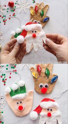 SALT DOUGH HANDPRINTS 🎅 - such a fun salt dough ornament for Christmas! Make an elf, reindeer or Santa.