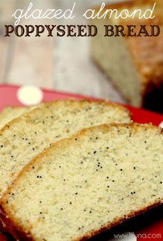 Super Yummy Glazed Almond Poppy Seed Bread Recipe - no yeast involved { lilluna.com } #bread