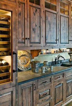 Amazing rustic cabinets. Okay honey, you gotta go tear the wood out of that old house! These are MY kitchen cabinets! I just know you can do it!