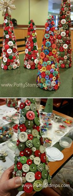 Have you ever asked yourself what to do with all these old buttons you have in your drawer? And wondered how you can recycle them into pretty useful things? Here are 20 creative crafts in which you can recycle your old. Christmas Projects, Christmas Art, All Things Christmas, Holiday Crafts, Christmas Ornaments, Button Ornaments, Christmas Button Crafts, Diy Ornaments, Christmas 2019