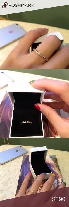 Pandora ring Alluring brilliant  new Brand new in box Marquise  size 50. No trade yellow gold with Diamond Pandora Jewelry Rings