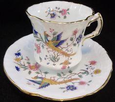 Hammersley Tea Cup Saucer Set Bone China England 6259 Asian Blue Birds Flowers