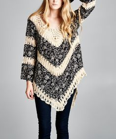 Look what I found on #zulily! Black & White Floral Crochet Tiered Tunic - Plus #zulilyfinds