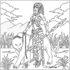 Barbie Coloring Pages, Mermaid Coloring Pages, Bird Coloring Pages, Adult Coloring Book Pages, Printable Adult Coloring Pages, Coloring Books, African Drawings, African Art Projects, Free Adult Coloring