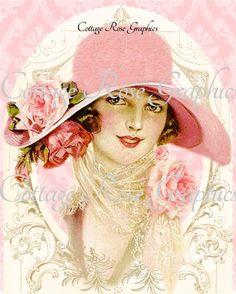 Vintage Pink hat Victorian lady Roses Large digital download  BUY 3 get one FREE ecs svfteam