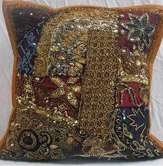 16' BROWN INDIAN BEADED EMBROIDERED PILLOW CUSHION COVER THROW VINTAGE DECOR ART in Home & Garden, Home Décor, Pillows | eBay
