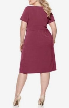 562f344c2efbd Ny collection ruched sleeve a-line dress - bordeaux - plus size 2x
