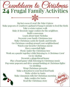 Countdown to Christmas: 24 Frugal Family Activites I just love Christmas! The shopping, the snow, the music… it's one of my favorite times of year. (I start listening to Christmas music in October – that's how much I like the holiday season!) Every year I 25 Days Of Christmas, Noel Christmas, Christmas Countdown, Little Christmas, Winter Christmas, Christmas Crafts, Christmas Decorations, Christmas Ideas, Xmas