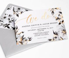 From the glimmering foil accents of the card to the matching envelope liners, this wedding stationery suite is perfect for the modern couple in love.