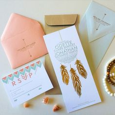 Dream Catcher Invitation suite with Gold Foil Feathers. Bohemian. Tribal. Arrows. Feathers.